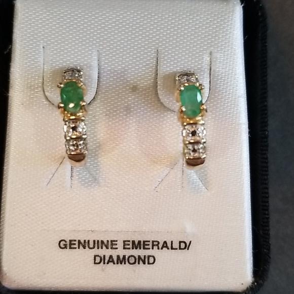 Sterling silver emerald diamond earrings